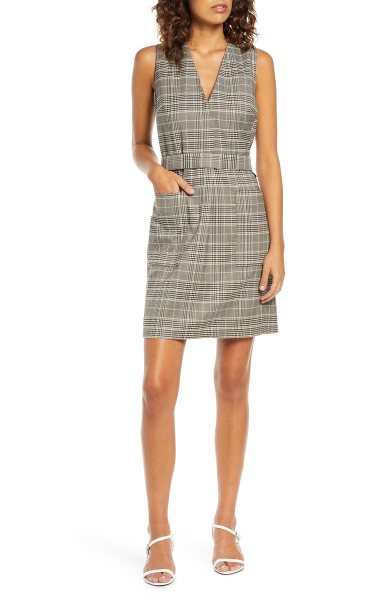 FRENCH CONNECTION Amati Check Sleeveless Dress, Main, color, GREY MULTI