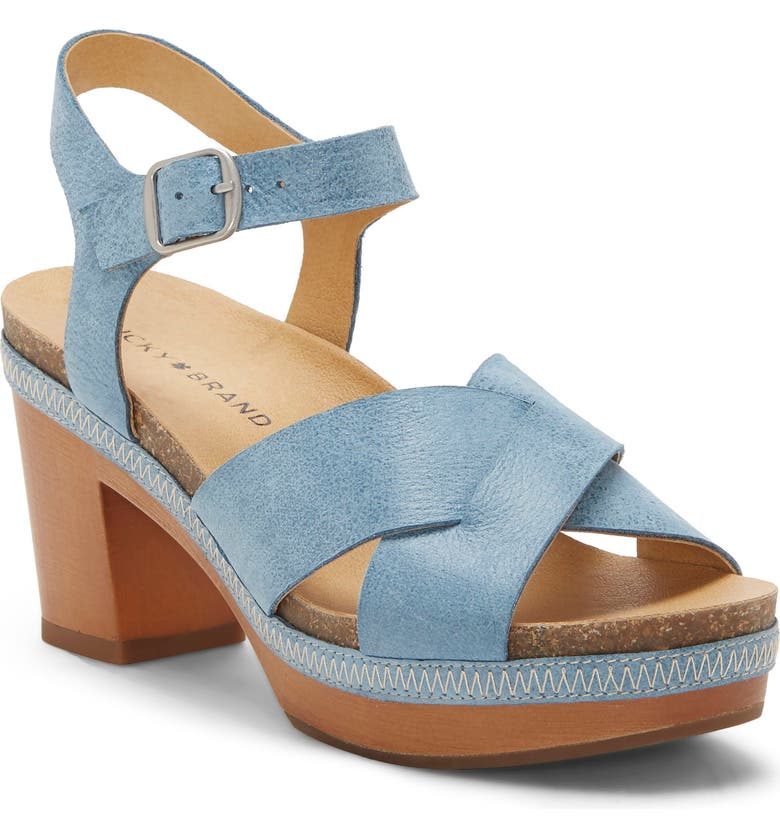 LUCKY BRAND Harvia Platform Sandal, Main, color, LIGHT INDIGO LEATHER