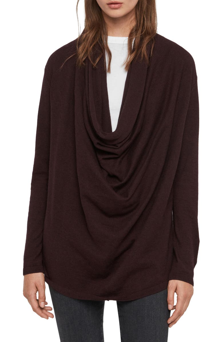 ALLSAINTS Cowl Neck Sweater, Main, color, BURGUNDY RED MARL