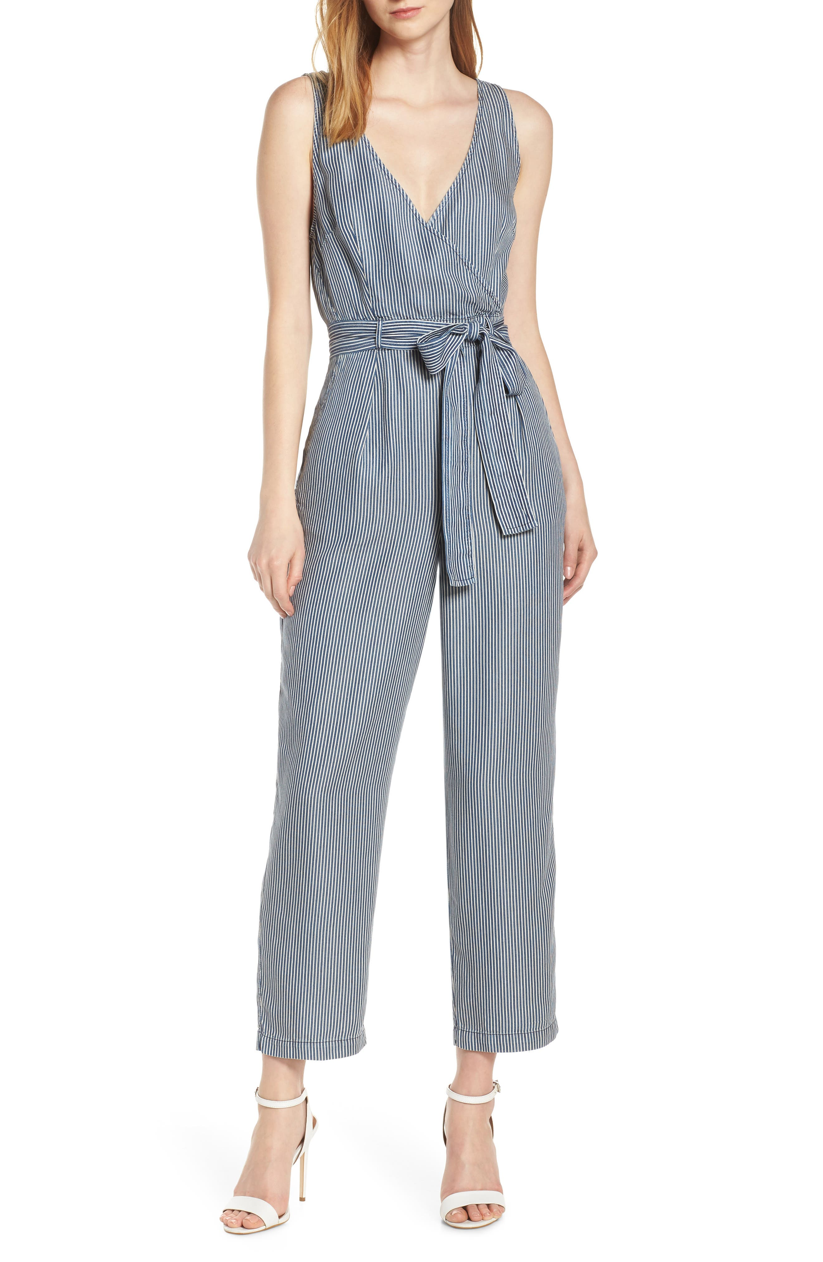 French Connection Suits Julienne Stripe Belted Jumpsuit