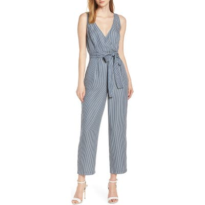 French Connection Julienne Stripe Belted Jumpsuit, Blue