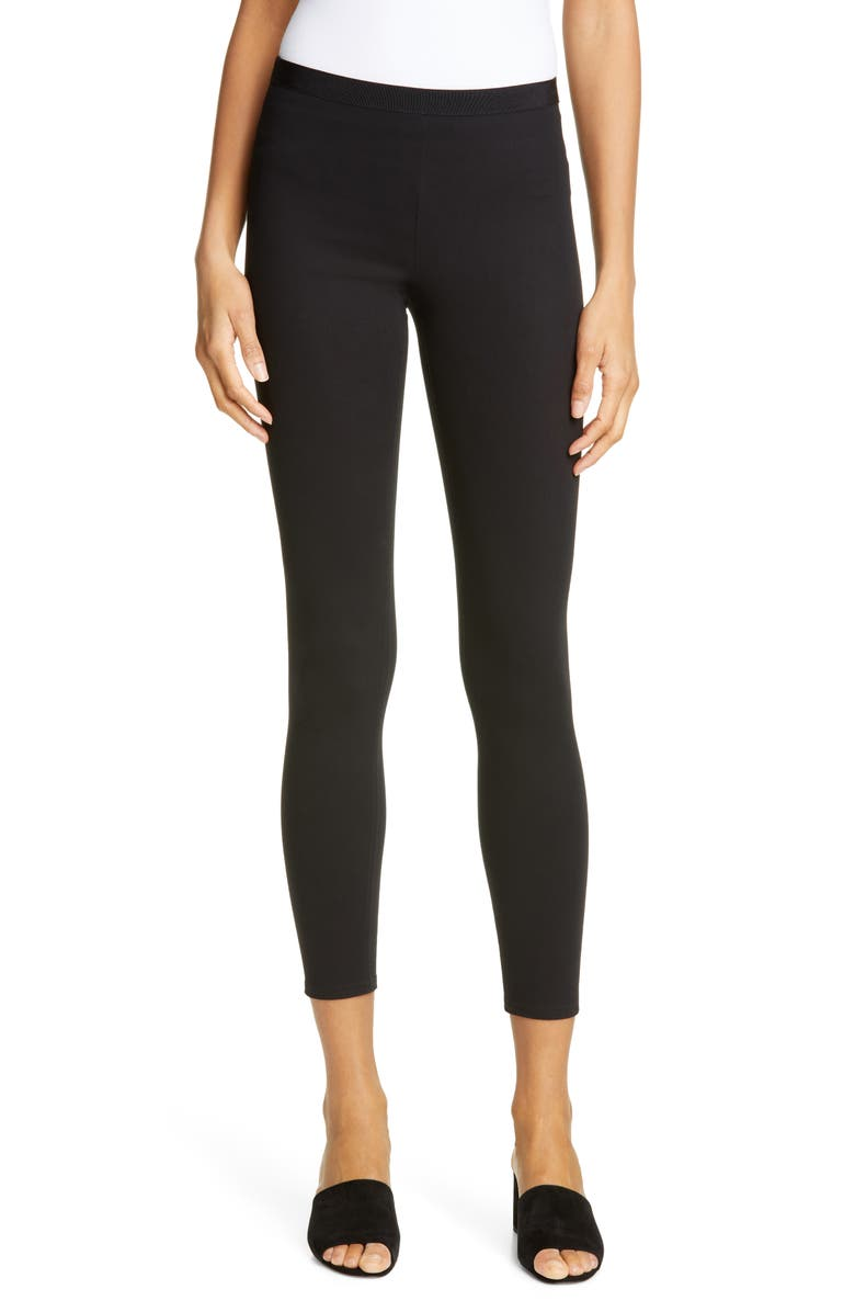 HELMUT LANG Mid Rise Leggings, Main, color, BLACK