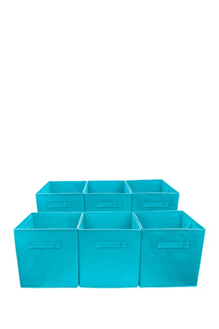 Image of Sorbus Foldable Storage Cube Basket Bin - Set of 6 - Aqua