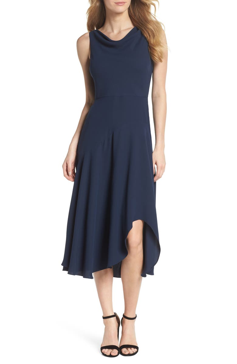 GAL MEETS GLAM COLLECTION Juliet Cowl Neck Crepe Dress, Main, color, 419