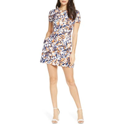 French Connection Enid Floral Minidress, Orange
