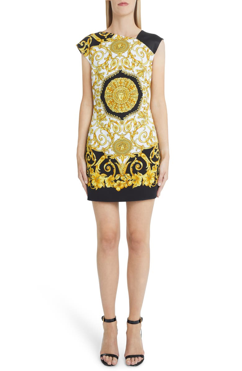 VERSACE FIRST LINE Hibiscus Print Asymmetrical Neck Shift Dress, Main, color, BLACK PRINT