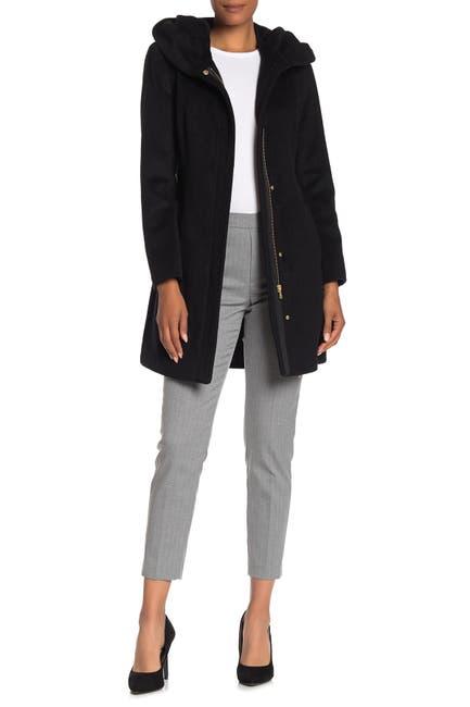 Image of Cole Haan Wool Blend Zip Font Hooded Coat