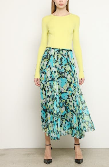 Floral Print Pleated Chiffon Skirt, video thumbnail