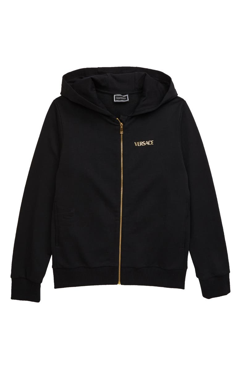 VERSACE Medusa Full Zip Hoodie, Main, color, BLACK