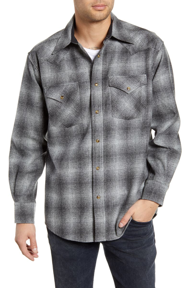 PENDLETON Canyon Plaid Wool Western Shirt, Main, color, GREY OMBRE