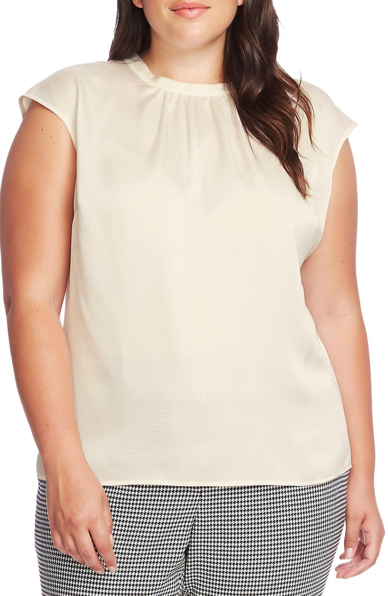 VINCE CAMUTO Cap Sleeve Satin Top, Main, color, PEARL IVORY