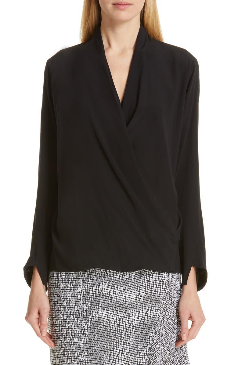 ZERO + MARIA CORNEJO Jazmin Stretch Silk Shirt, Main, color, BLACK