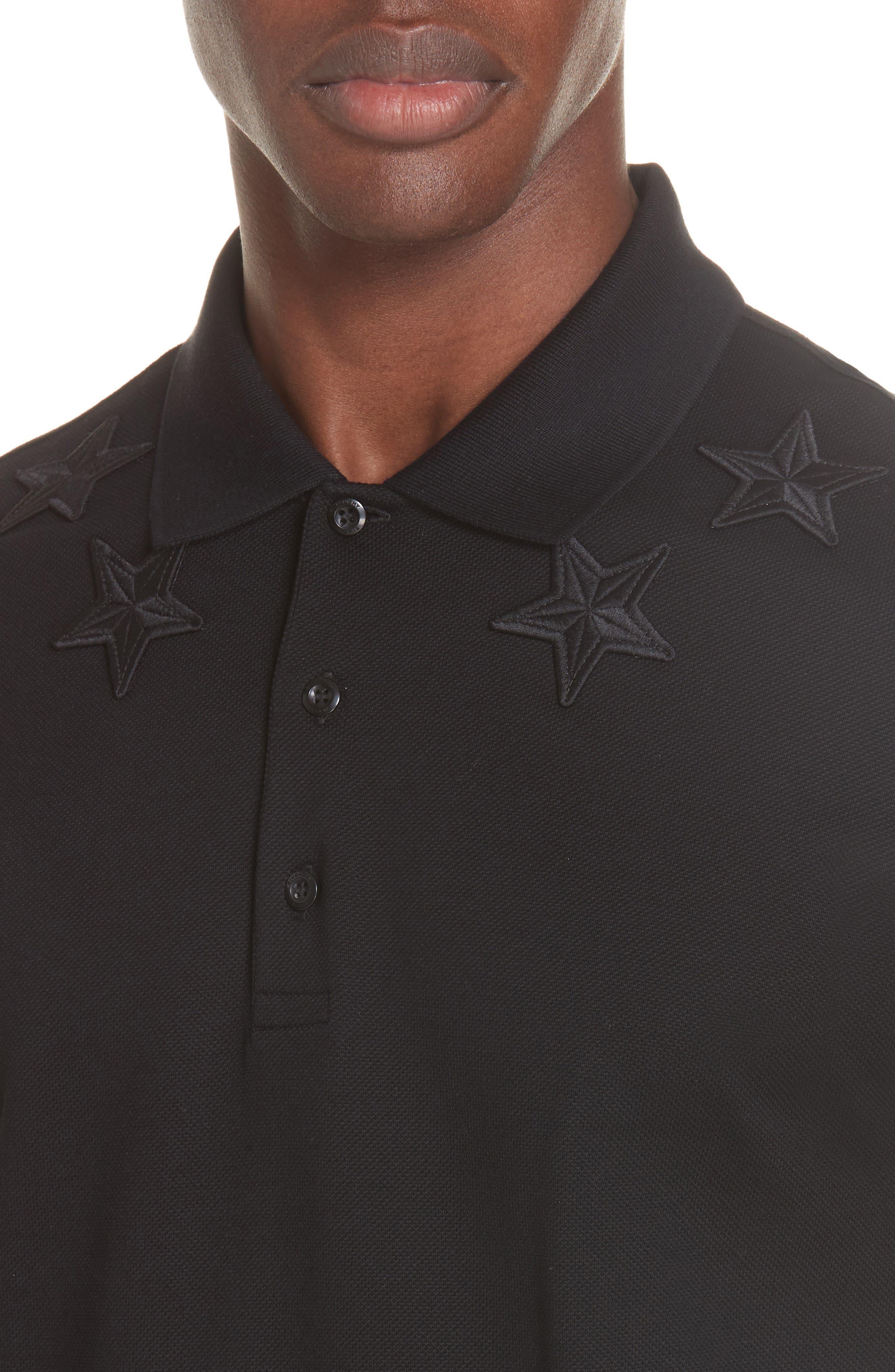,                             Star Polo Shirt,                             Alternate thumbnail 4, color,                             FADED BLACK