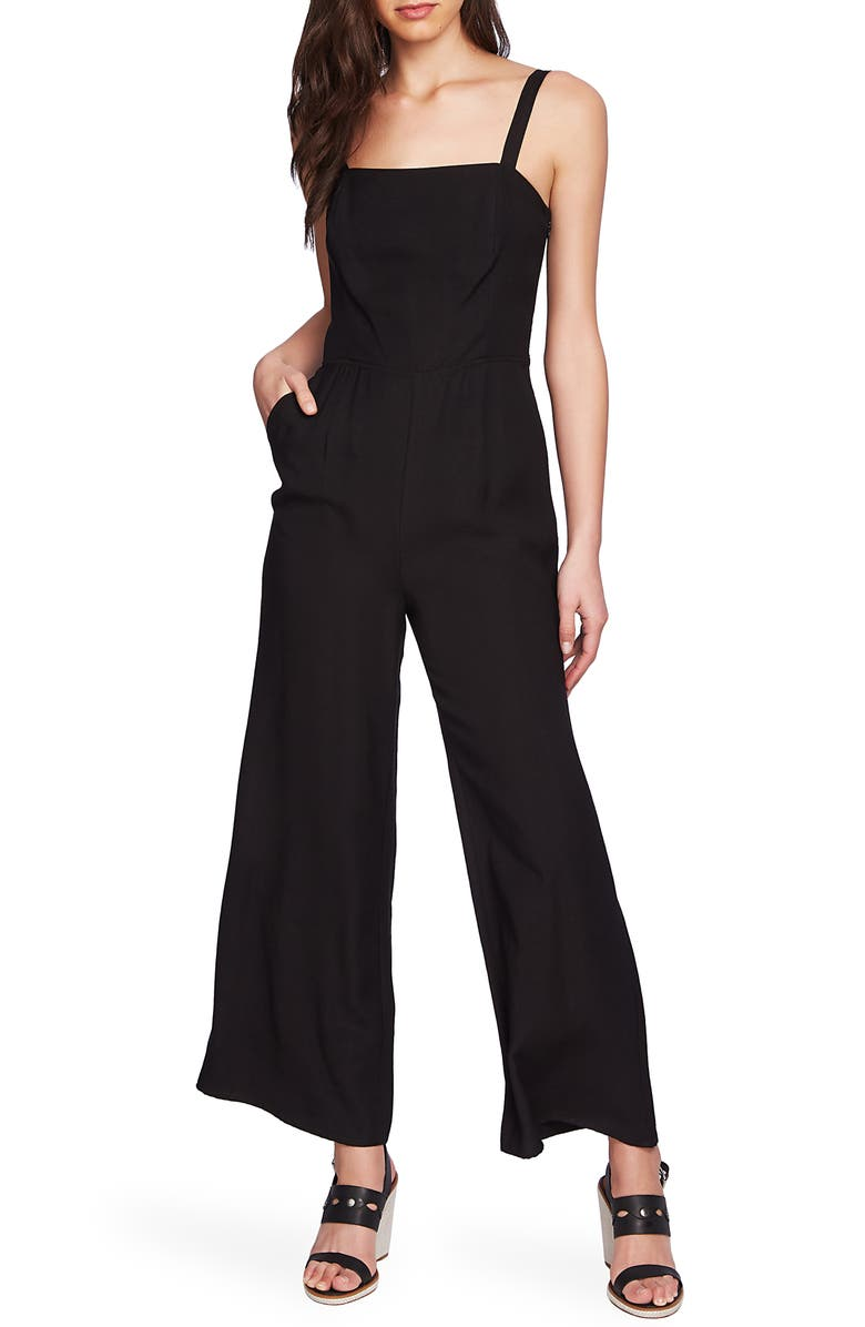 1.STATE Tie Back Wide Leg Jumpsuit, Main, color, RICH BLACK