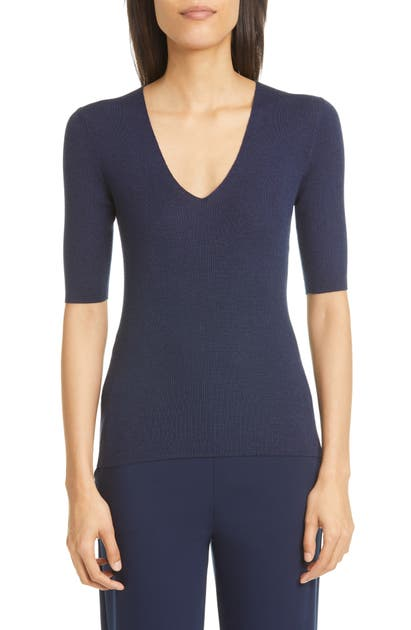 St. John FINE GAUGE RIB WOOL & SILK SWEATER
