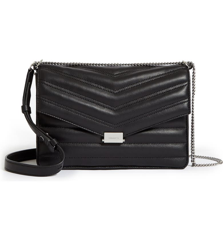 ALLSAINTS Justine Quilted Leather Crossbody Bag, Main, color, BLACK