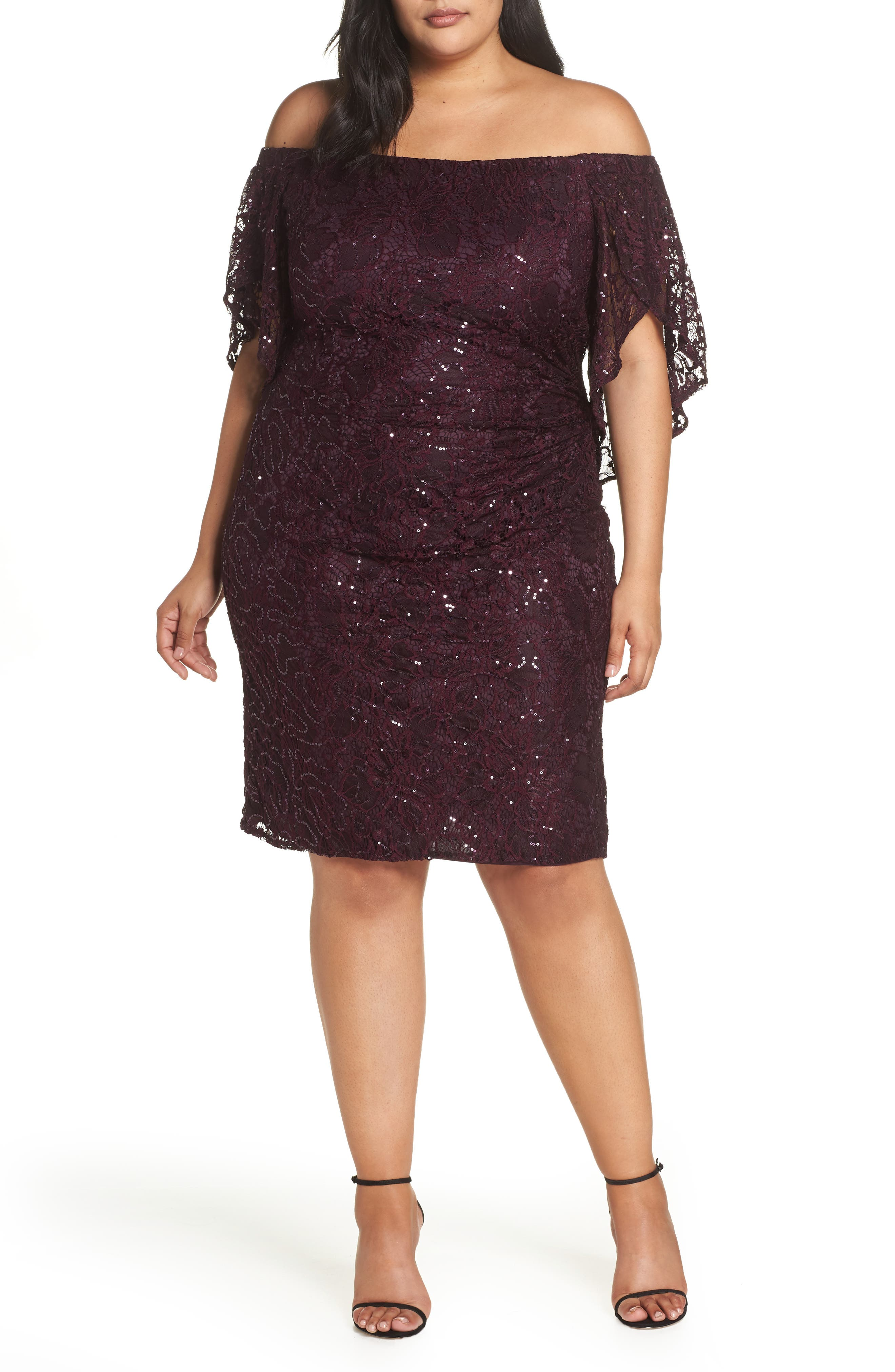 70s Prom, Formal, Evening, Party Dresses Plus Size Womens Morgan  Co. Sequin Off The Shoulder Cocktail Dress $139.00 AT vintagedancer.com