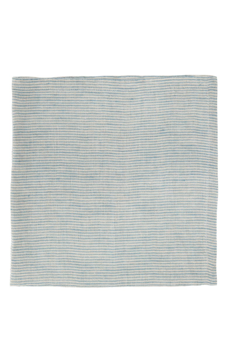 CARAVAN Set of 2 Pico Stripe Napkins, Main, color, BLUE/ NATURAL
