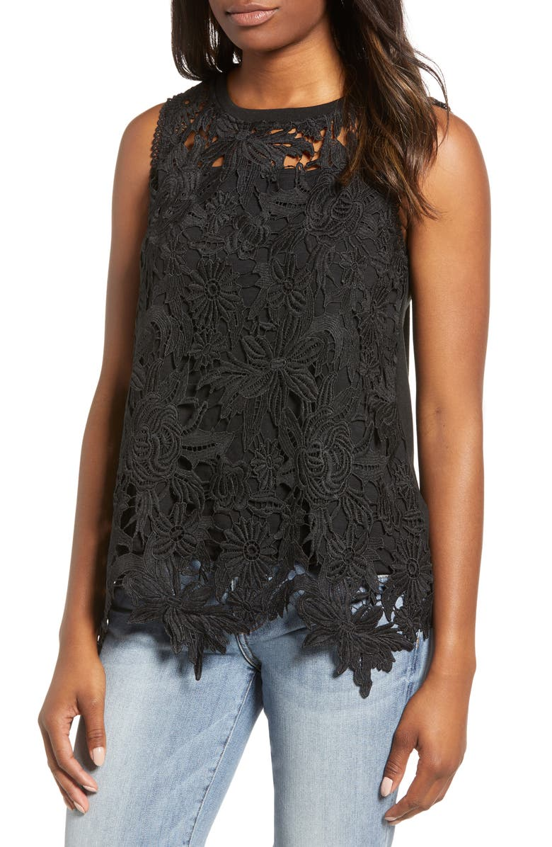 EVERLEIGH Lace Front Sleeveless Top, Main, color, 001