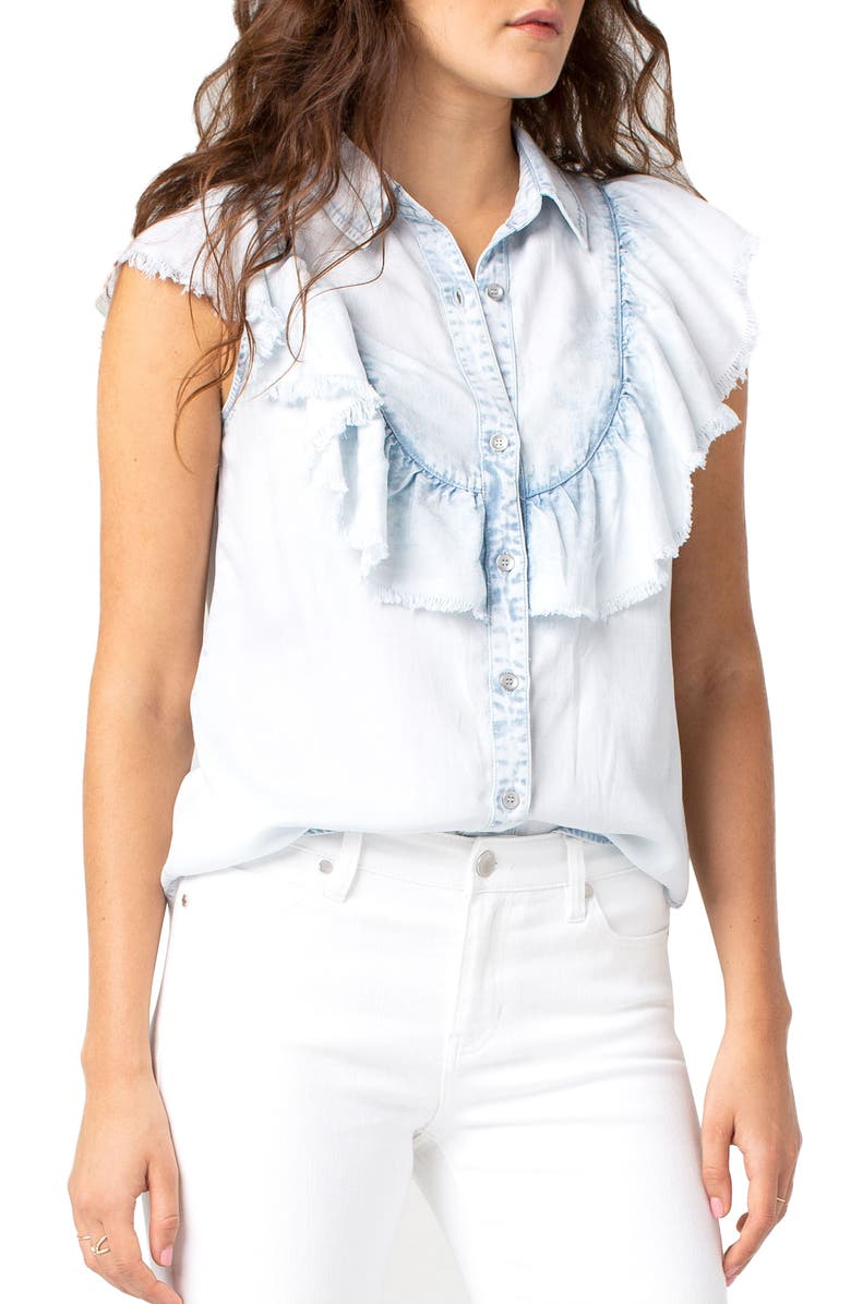 LIVERPOOL Frayed Ruffle Front Shirt, Main, color, 150
