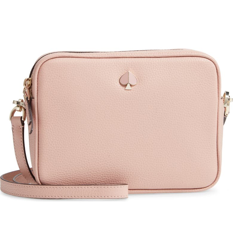 KATE SPADE NEW YORK medium polly leather camera bag, Main, color, FLAPPER PINK