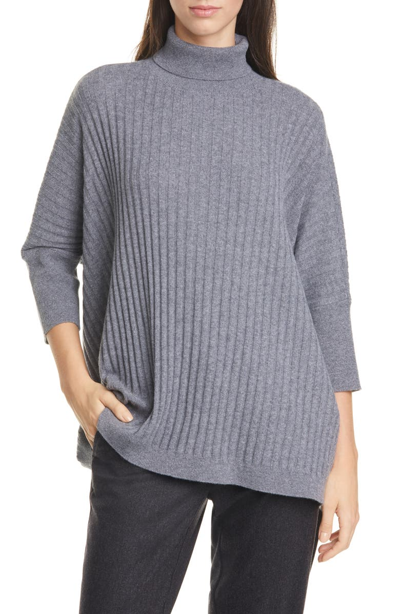 EILEEN FISHER Dolman Sleeve Cashmere Sweater, Main, color, ASH