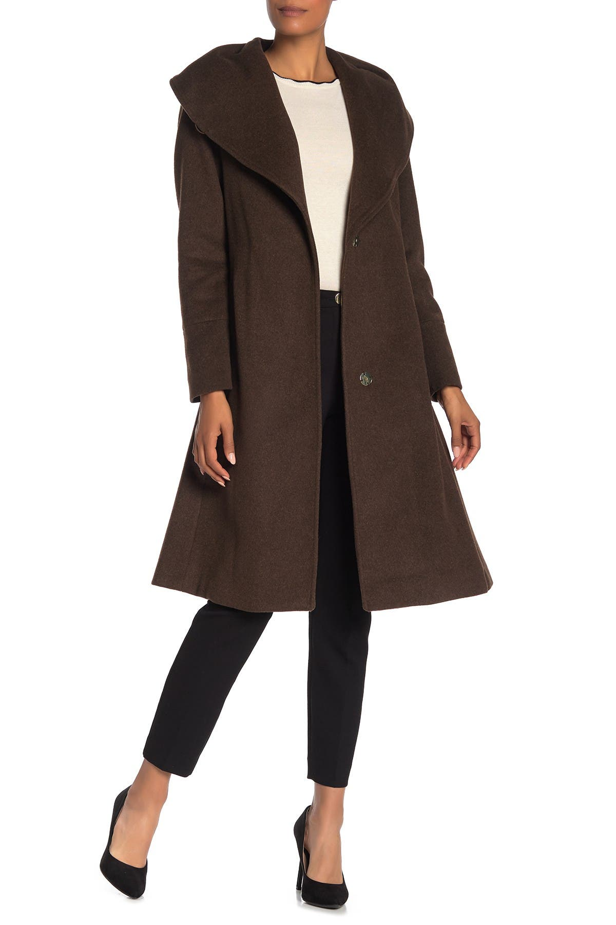 Image of Cole Haan Wool Blend Shawl Collar Belted Coat