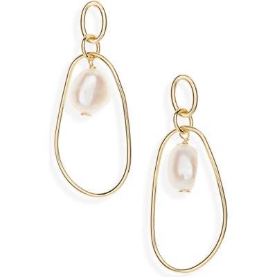 Argento Vivo Pearl Hoop Earrings
