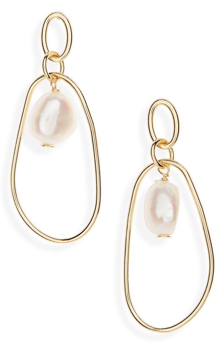 ARGENTO VIVO Pearl Hoop Earrings, Main, color, GOLD/ PEARL