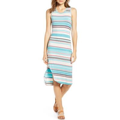 Love, Fire Stripe Midi Dress, Blue/green