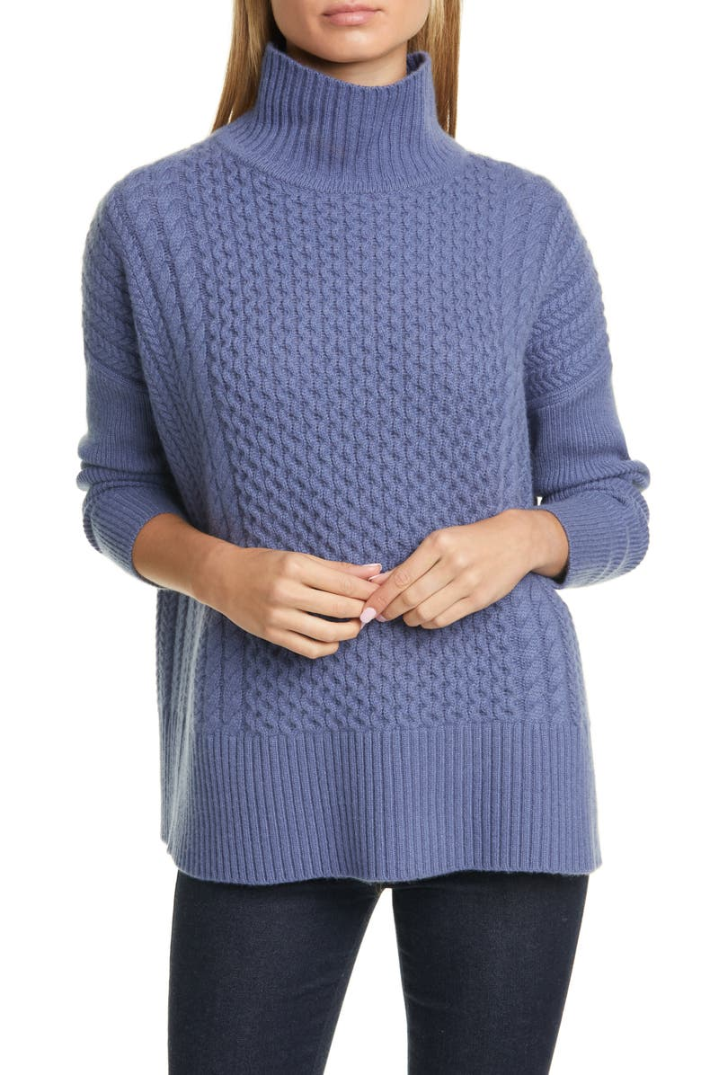 NORDSTROM SIGNATURE Cable Knit Mock Neck Cashmere Sweater, Main, color, BLUE INDIGO