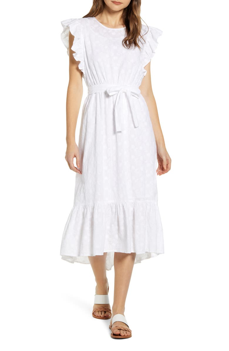 LUCKY BRAND Reese Flutter Sleeve Embroidered Cotton Dress, Main, color, LUCKY WHITE