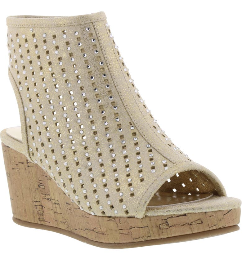 KENNETH COLE NEW YORK Corrine Steller Crystal Wedge Sandal, Main, color, TAUPE SHIMMER
