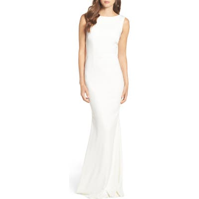 Katie May Vionnet Drape Back Crepe Gown, Ivory