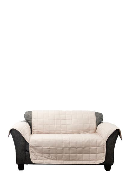 Image of Duck River Textile Joseph Flannel Reversible Waterproof Microfiber Love Chair Cover - Taupe/Mocha