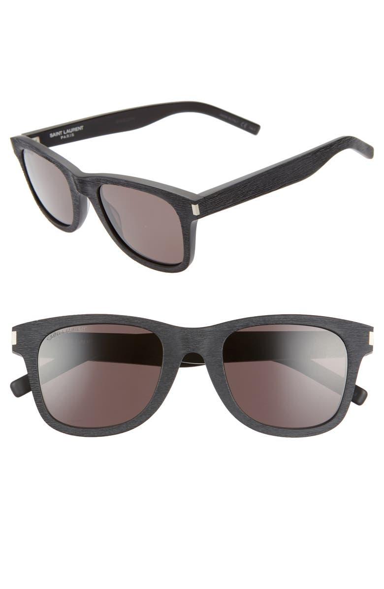 SAINT LAURENT 50mm Square Sunglasses, Main, color, 001