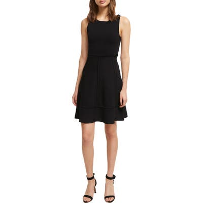 French Connection Tia Tobey Fit & Flare Dress, Black