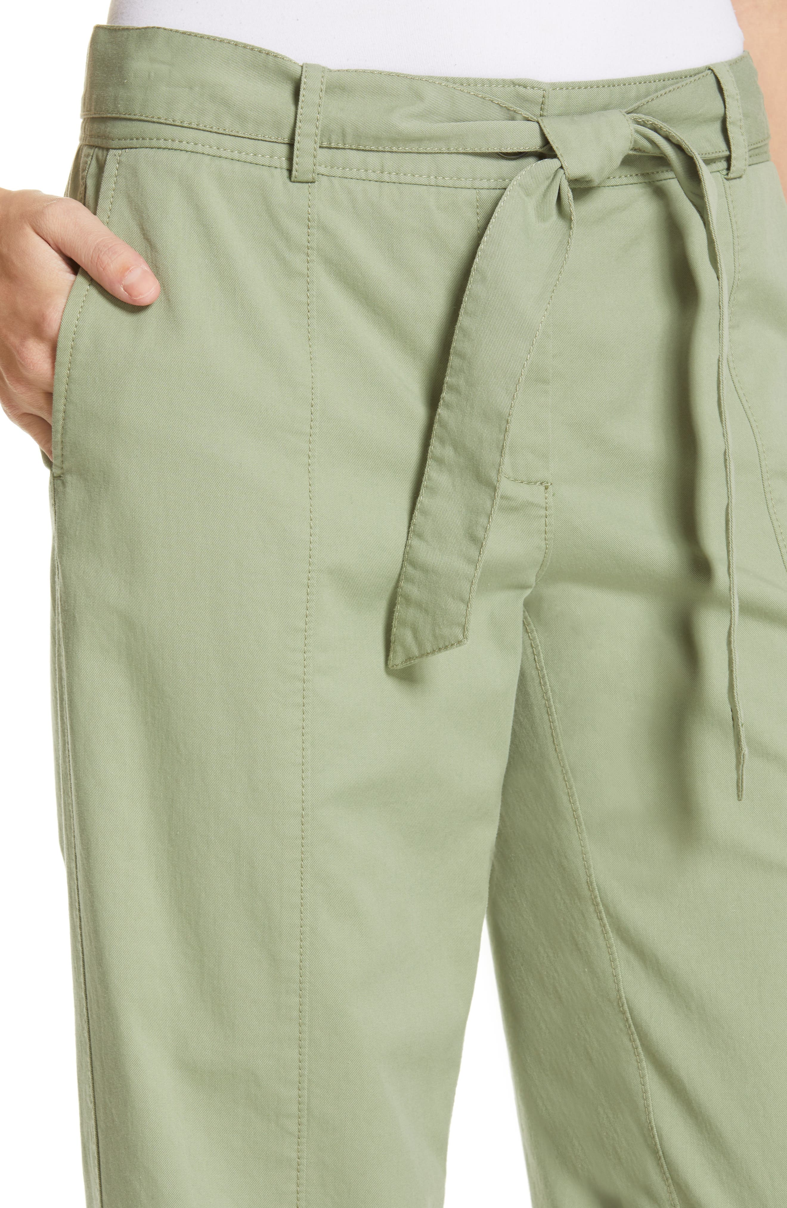 ,                             Center Seam Drawstring Stretch Cotton Pants,                             Alternate thumbnail 5, color,                             GREEN BASIL
