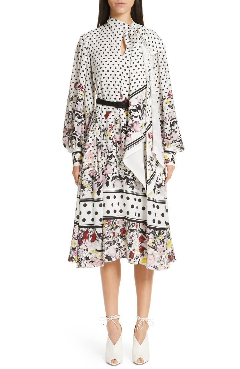 ERDEM Tie Neck Polka Dot & Floral Print Dress, Main, color, 100