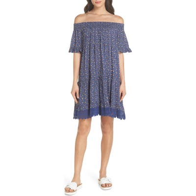 Tory Burch Wild Pansy Off The Shoulder Cover-Up Dress, Blue