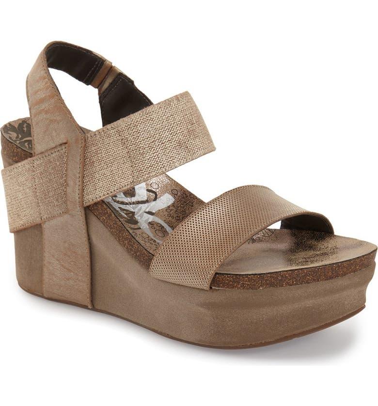 OTBT 'Bushnell' Wedge Sandal, Main, color, NEW BRONZE LEATHER