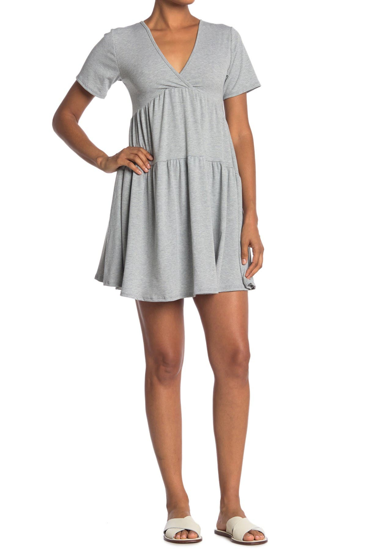 Image of Velvet Torch Tiered V-Neck Knit Dress