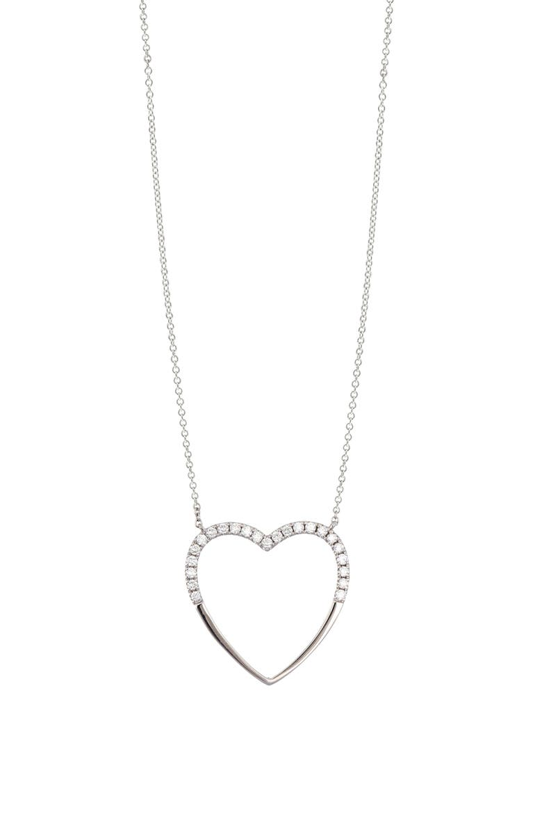 BONY LEVY Icons Large Diamond Heart Pendant Necklace, Main, color, WHITE GOLD/ DIAMOND