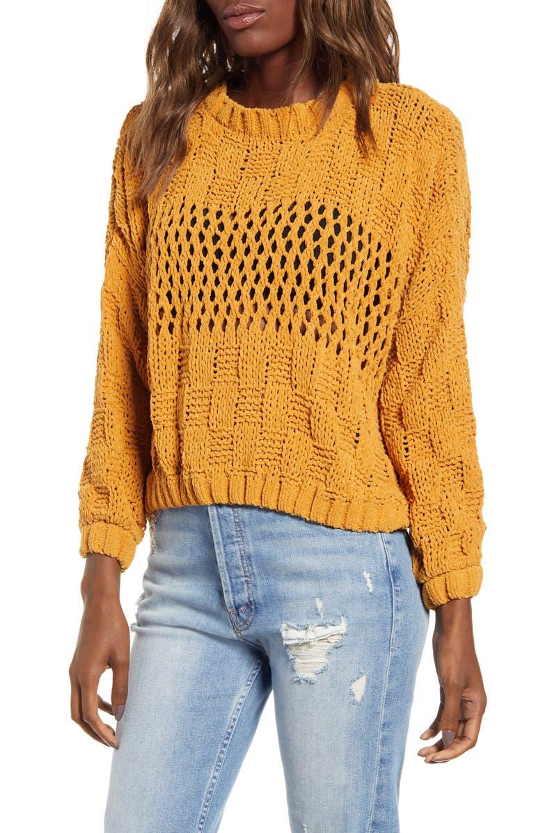 BILLABONG Onward We Go Chenille Sweater, Main, color, HONEY GOLD