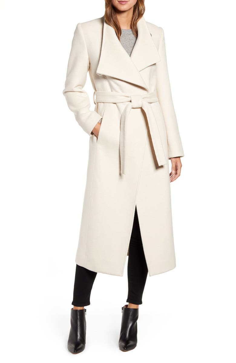 KENNETH COLE NEW YORK Fencer Melton Wool Maxi Coat, Main, color, OATMEAL