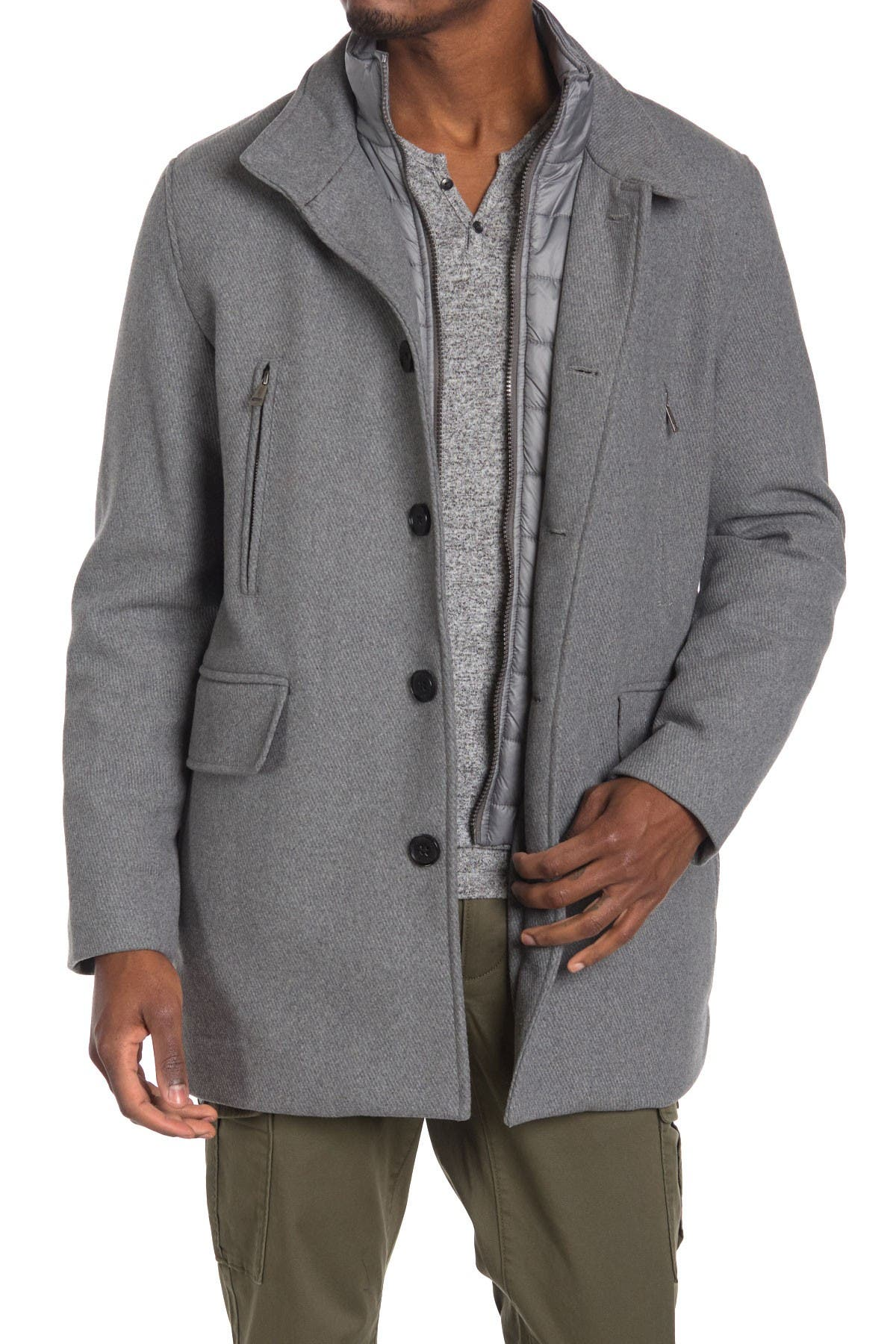 Image of Cole Haan Stand Collar Bib Wool Blend Coat