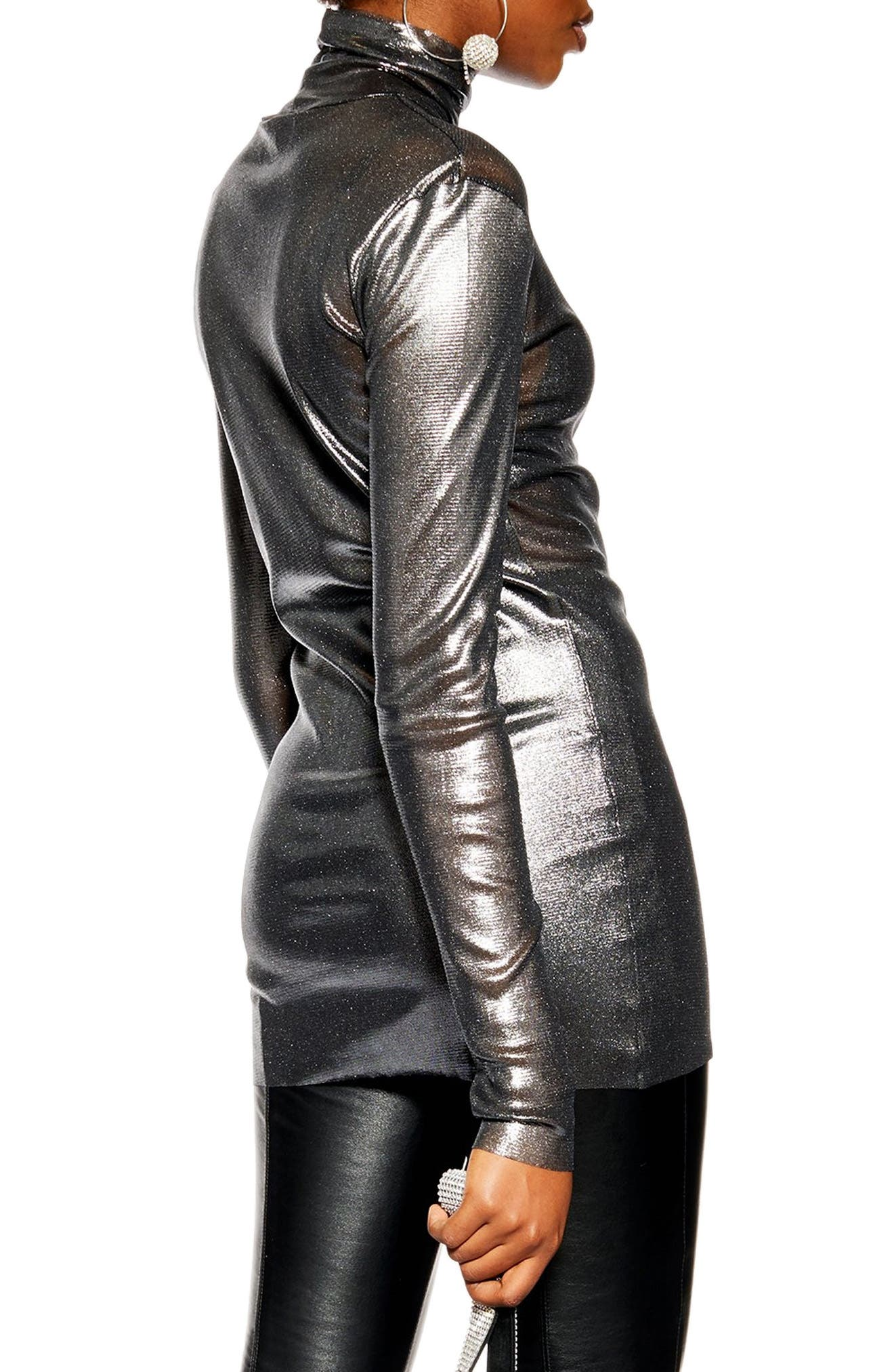 ,                             Metallic Funnel Neck Top,                             Alternate thumbnail 2, color,                             040