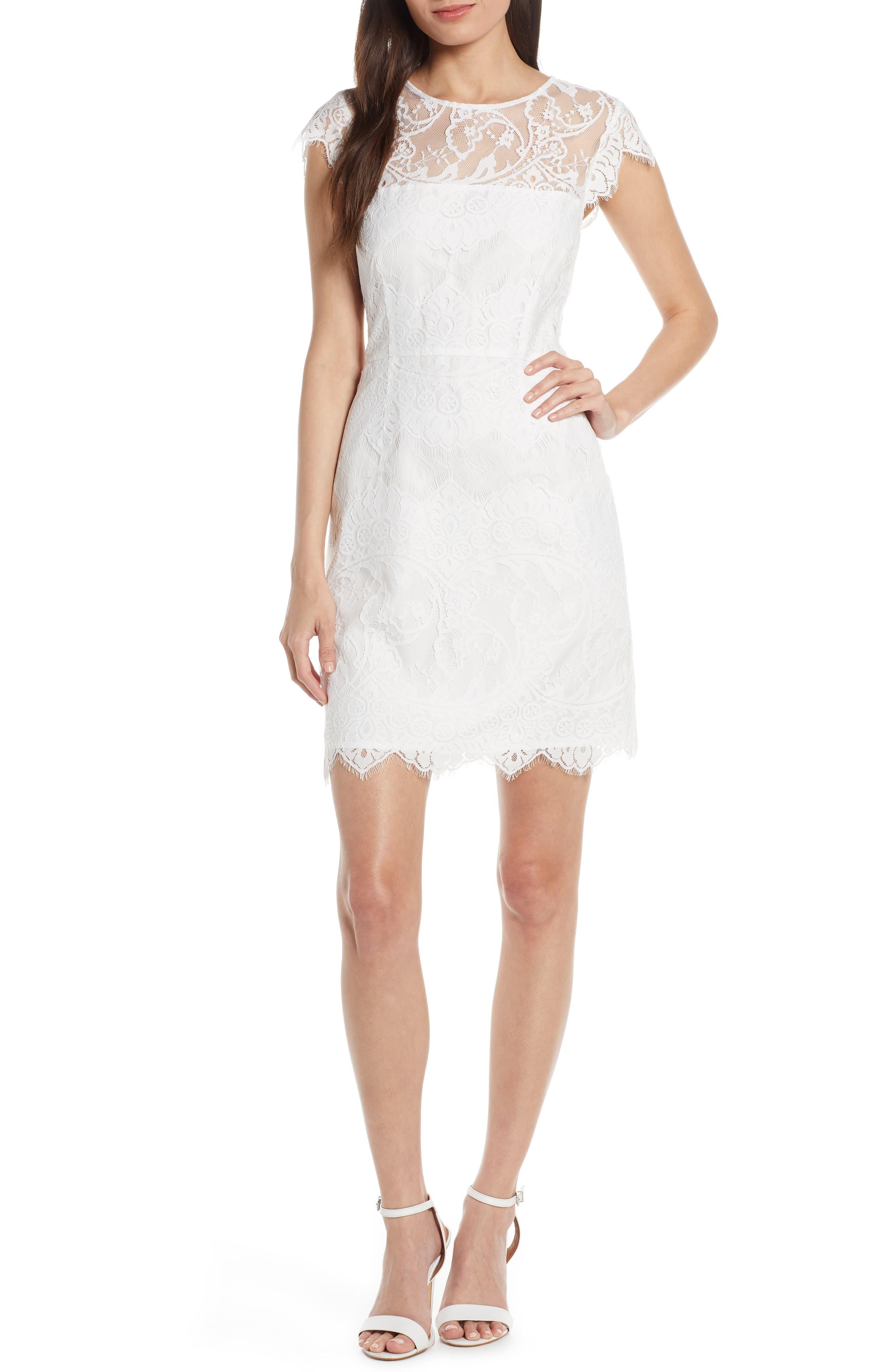 Bb Dakota Jayce Lace Sheath Cocktail Dress, White