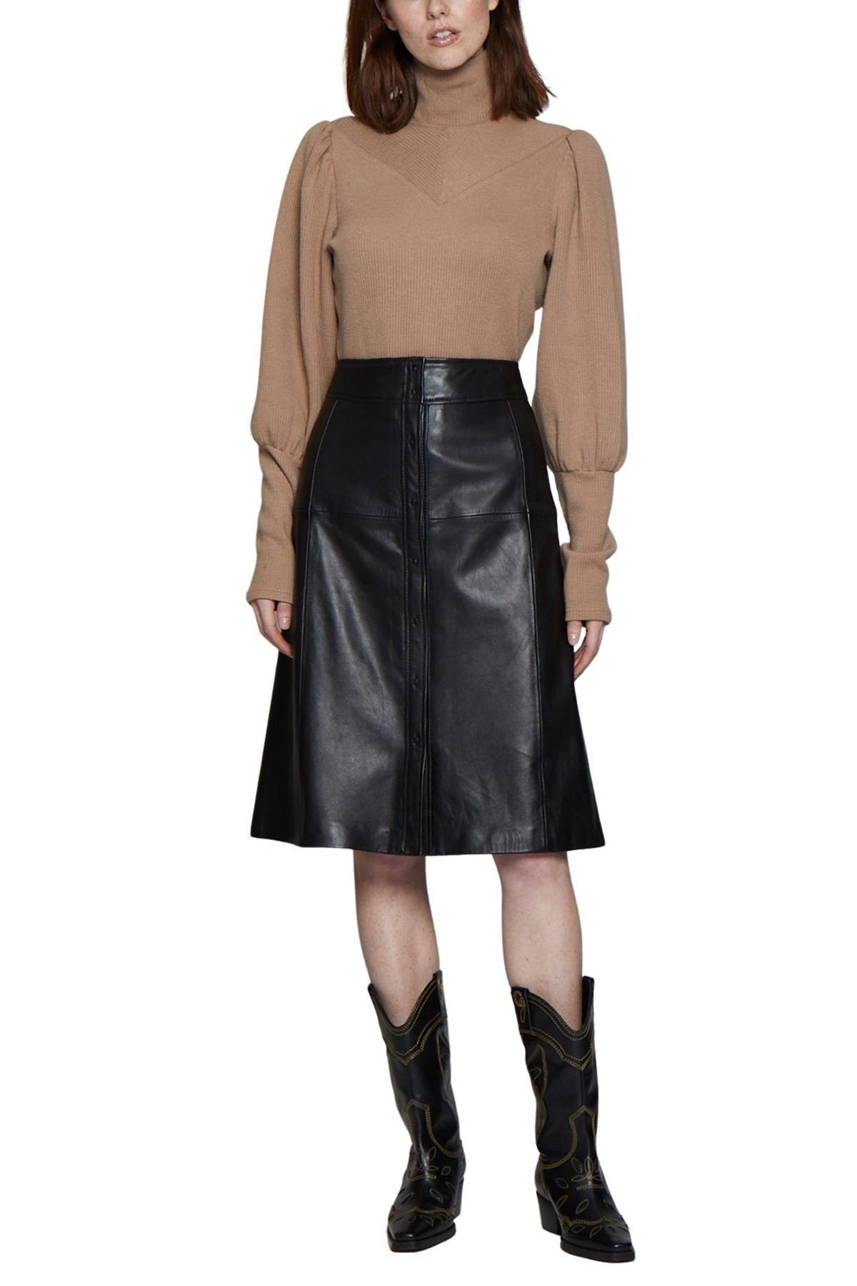 Image of Walter Baker Aline Leather Button Front Midi Skirt