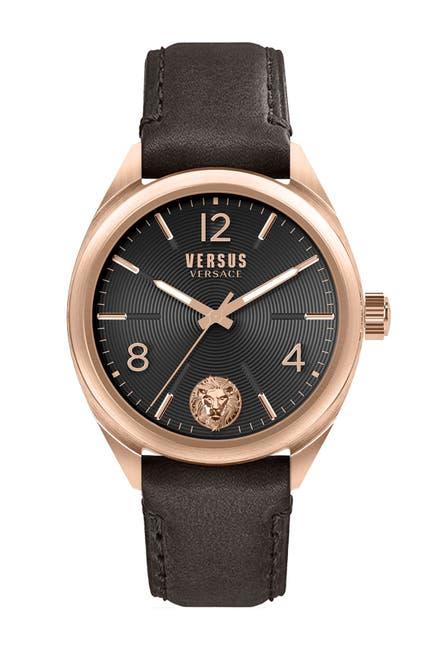 Image of VERSUS Men's Quartz 3-Hand Leather Strap Watch, 44mm